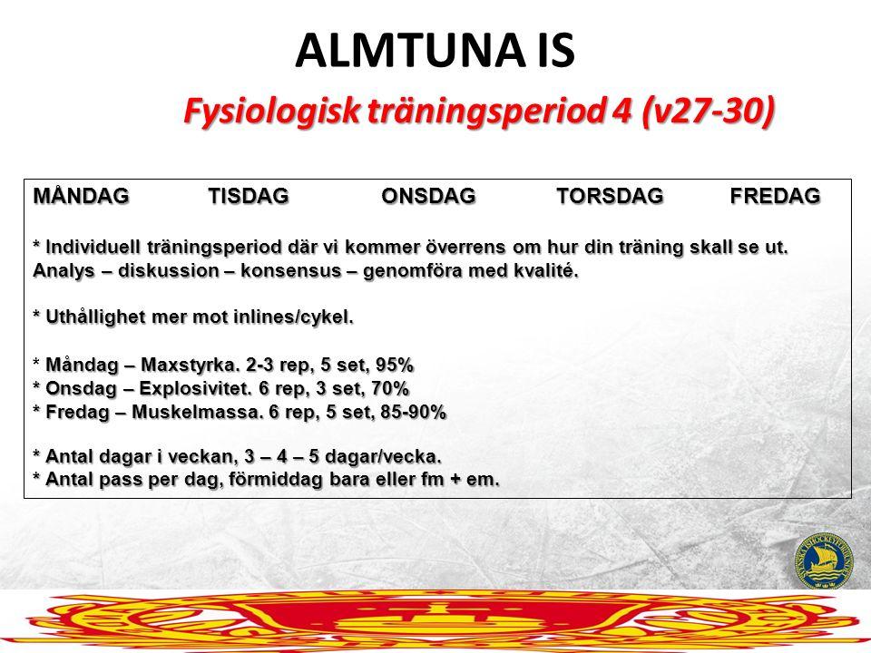 ALMTUNA IS Fysiologisk träningsperiod 4 (v27-30) MÅNDAGTISDAGONSDAGTORSDAGFREDAG * Individuell träningsperiod där vi kommer överrens om hur din tränin