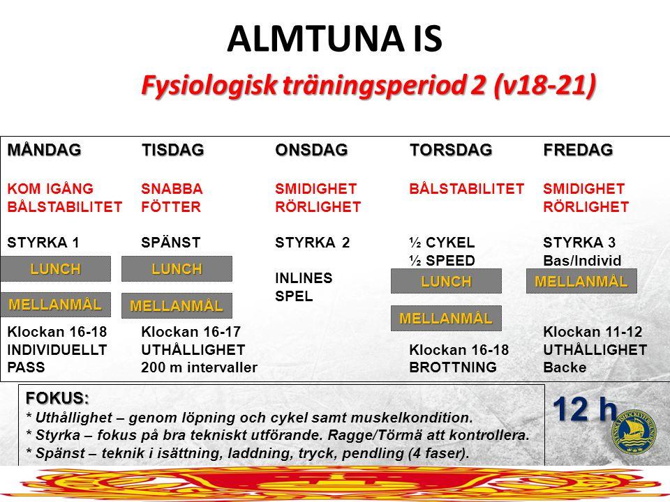 ALMTUNA IS Fysiologisk träningsperiod 2 (v18-21) MÅNDAGTISDAGONSDAGTORSDAGFREDAG KOM IGÅNGSNABBASMIDIGHETBÅLSTABILITETSMIDIGHET BÅLSTABILITETFÖTTERRÖR