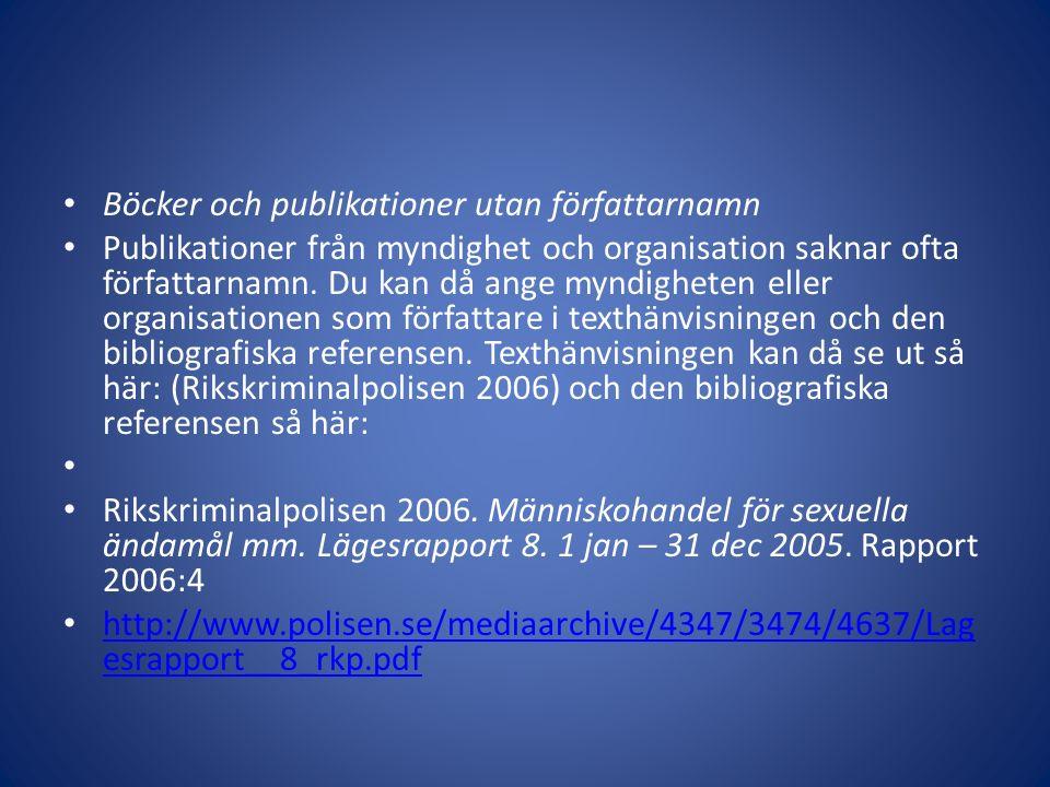 Böcker och publikationer utan författarnamn Publikationer från myndighet och organisation saknar ofta författarnamn. Du kan då ange myndigheten eller