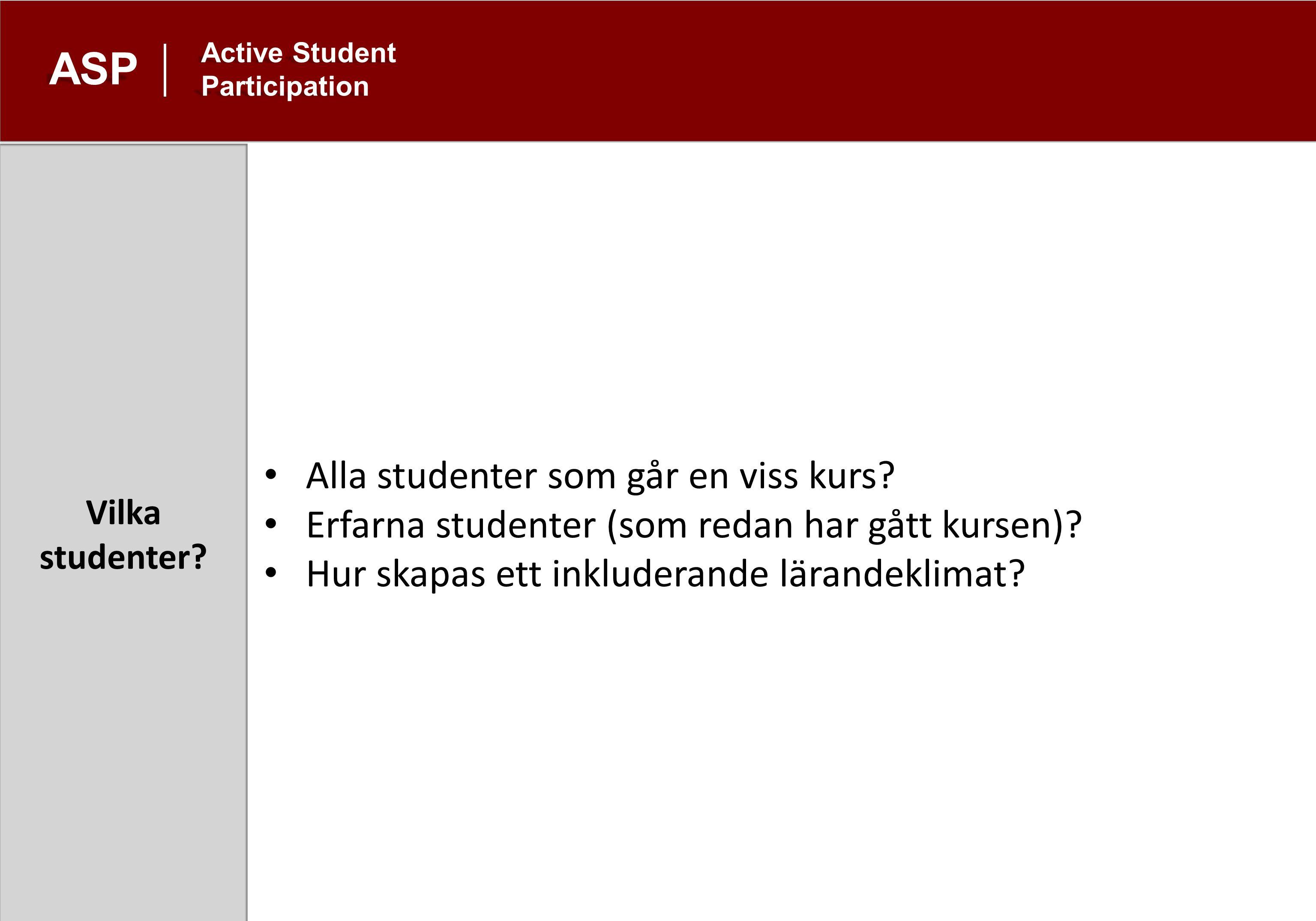 Vilka studenter. ASP Active Student Participation Alla studenter som går en viss kurs.
