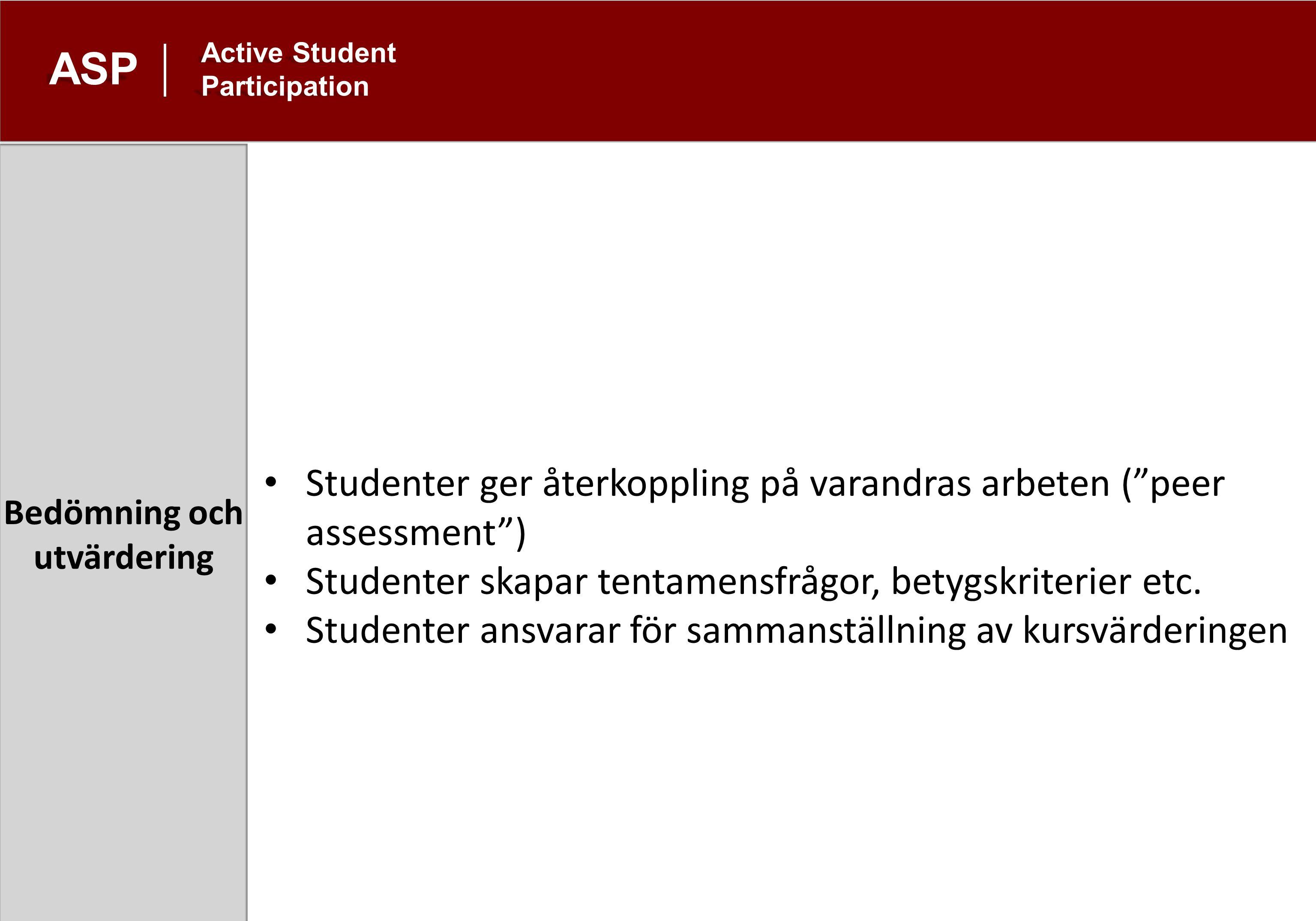 Utanför ordinarie undervisning ASP Active Student Participation Studenter anordnar ämneskonferens med egna bidrag Studenter organiserar aktiviteter med perspektiv som de saknar i den ordinarie undervisningen