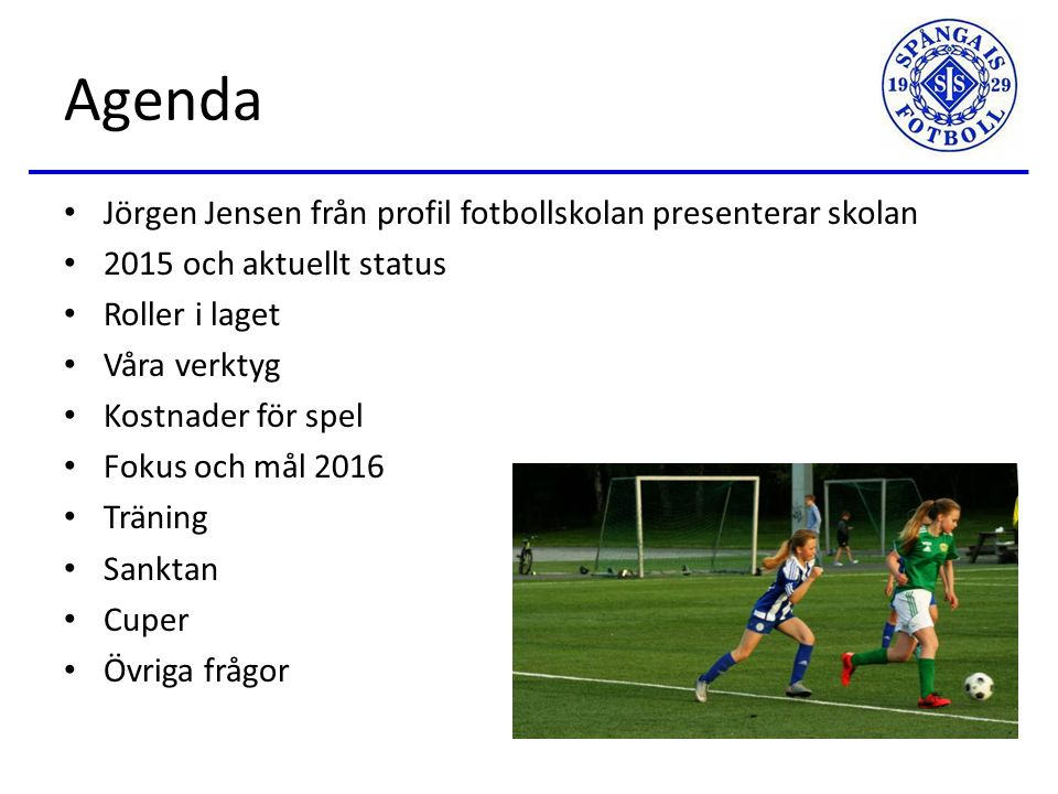 SIS FK Flickor 03 Plan 2016 Föräldramöte 9 februari 2016
