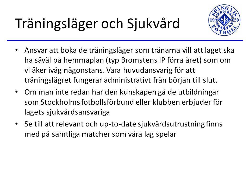 Lagledare / Kassör Ansvarig för all administration och kommunikation (mail, kallelser, SMS-grupp, närvaroregistrering) inom laget och med klubben.