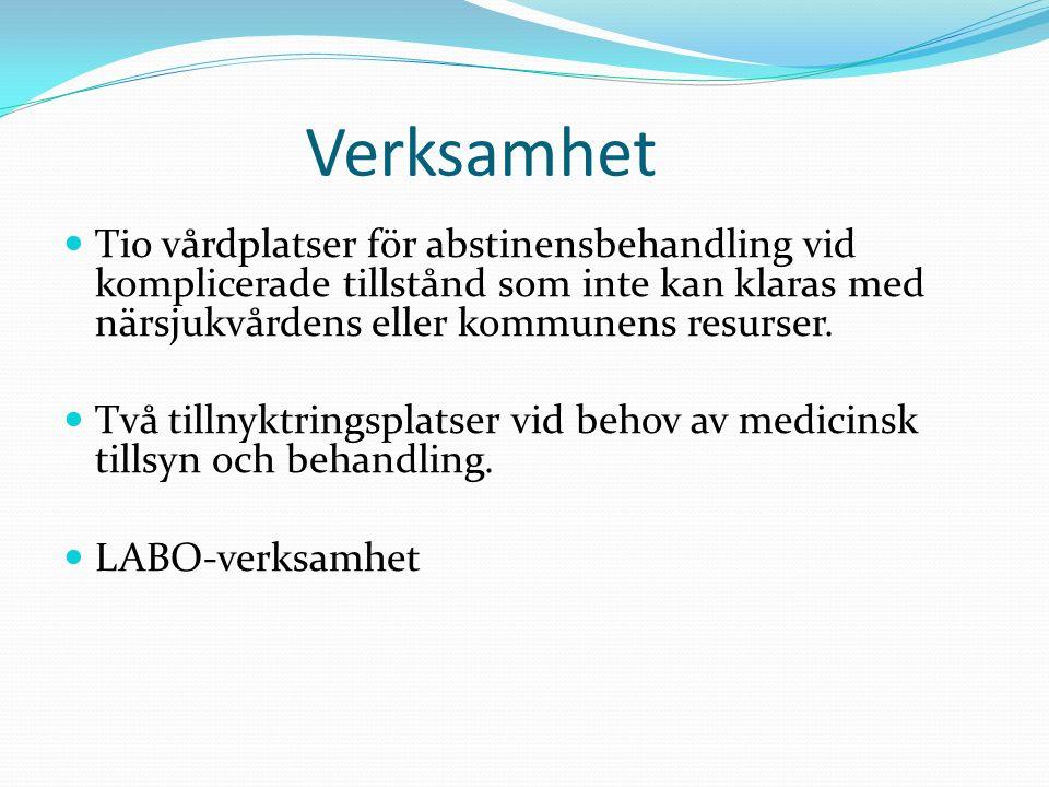 Verksamhet Tio vårdplatser för abstinensbehandling vid komplicerade tillstånd som inte kan klaras med närsjukvårdens eller kommunens resurser.