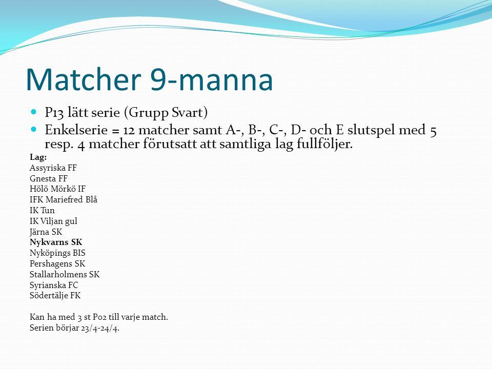 Matcher 9-manna P13 lätt serie (Grupp Svart) Enkelserie = 12 matcher samt A-, B-, C-, D- och E slutspel med 5 resp.