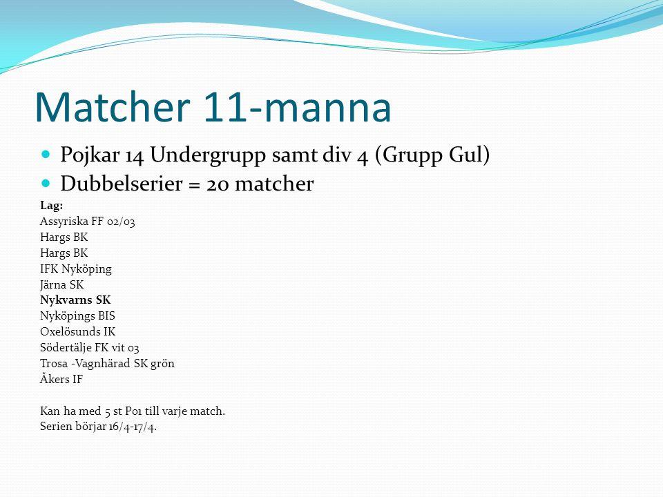 Cuper 9/4 11-manna chocken: 11-manna, Bollstanäs SK 1/5 Träningsbollen 2016: 9-manna, Västerås 11/7-16/7 SIFC: 11-manna, Södertälje 17/7-23/7 Gothia Cup: 11-manna, Göteborg Efter sommaren: TBD