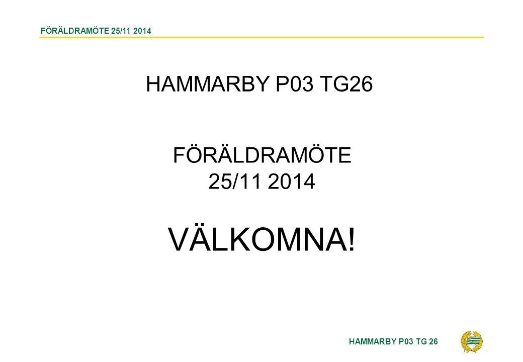 HAMMARBY P03 TG 26 FÖRÄLDRAMÖTE 25/11 2014 AGENDA 1.Inledning – Val av mötessekreterare 2.Ledare 3.Spelartrupp 4.Vad har vi gjort 5.Vad gör vi 6.Sanktan 7.Cuper 8.Lagkassan 9.Sportnik 10.Riktlinjer och Rutiner 11.Övriga frågor