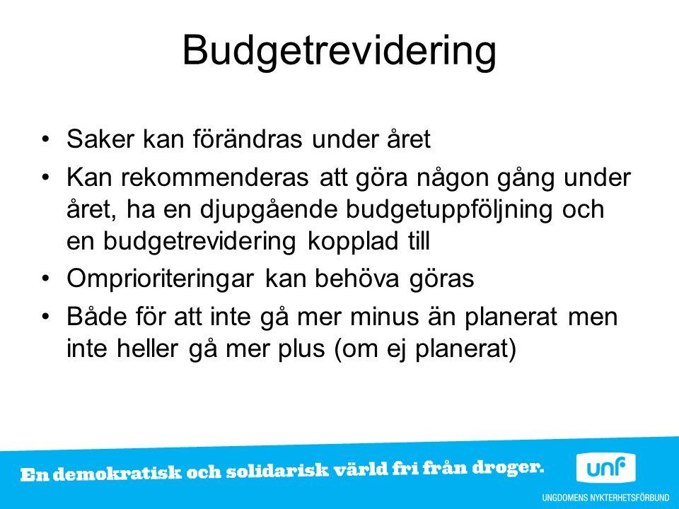 Budgetrevidering Saker kan förändras under året Kan rekommenderas att göra någon gång under året, ha en djupgående budgetuppföljning och en budgetrevi