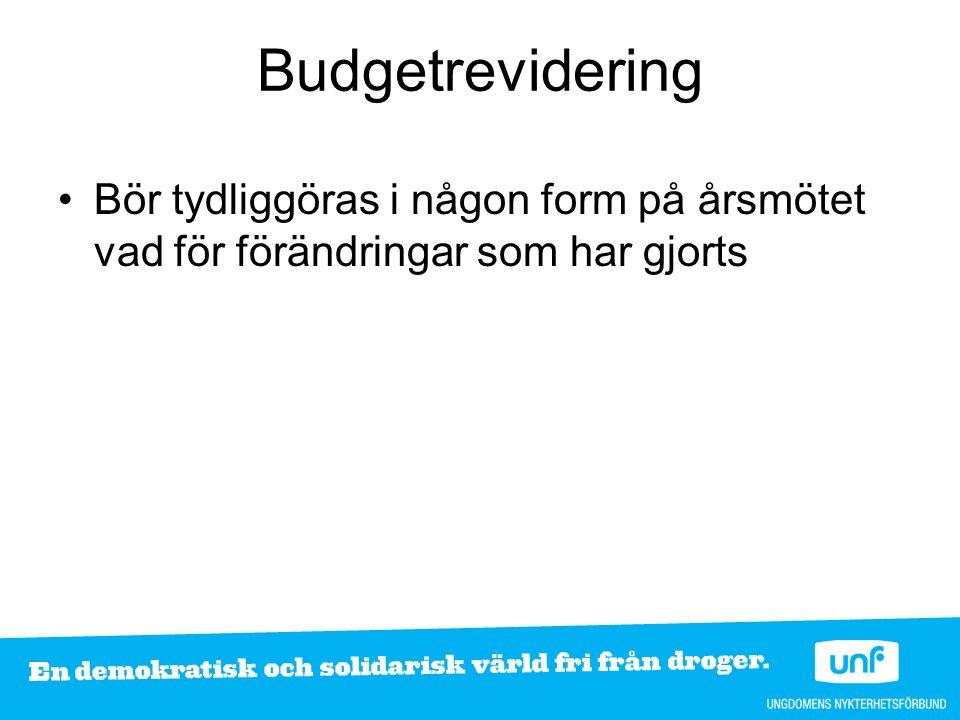 Budgetrevidering Bör tydliggöras i någon form på årsmötet vad för förändringar som har gjorts