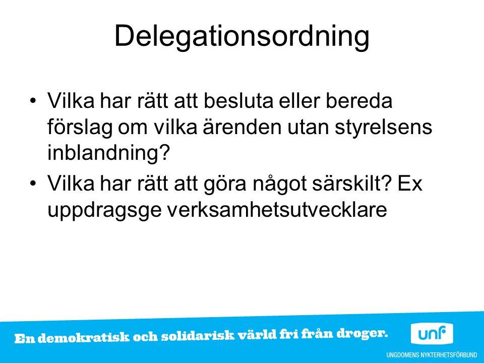 Delegationsordning Vilka har rätt att besluta eller bereda förslag om vilka ärenden utan styrelsens inblandning? Vilka har rätt att göra något särskil