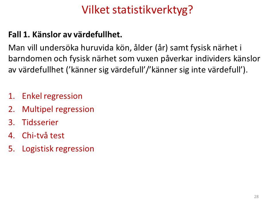 Vilket statistikverktyg. Fall 1. Känslor av värdefullhet.