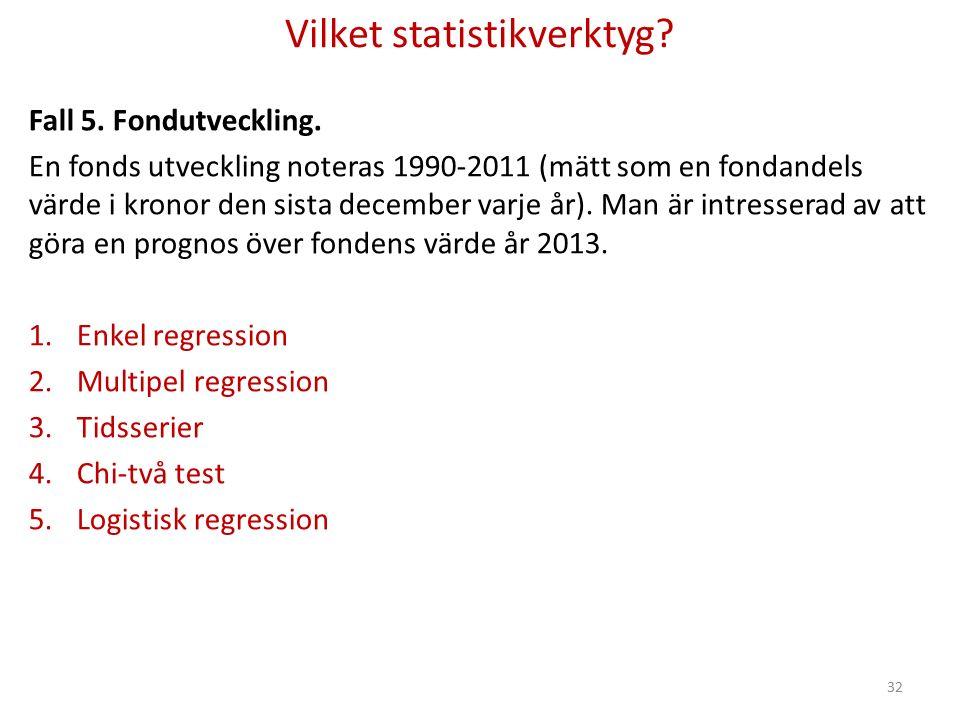 Vilket statistikverktyg. Fall 5. Fondutveckling.