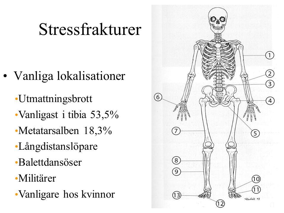 Stressfrakturer Vanliga lokalisationer Utmattningsbrott Vanligast i tibia 53,5% Metatarsalben 18,3% Långdistanslöpare Balettdansöser Militärer Vanligare hos kvinnor