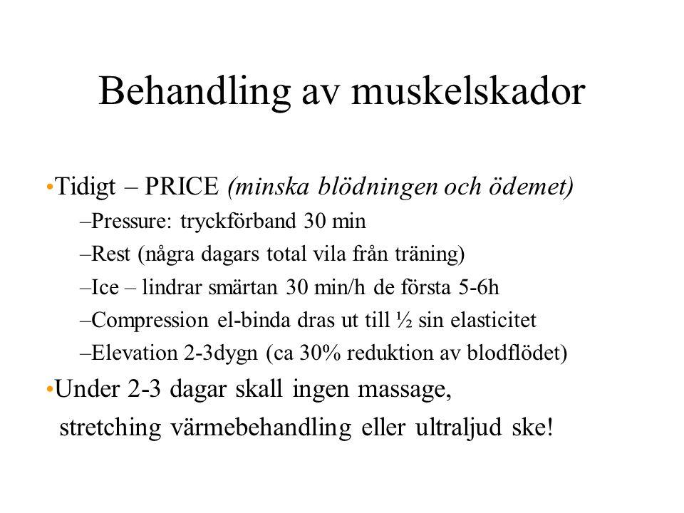 Behandling av muskelskador Tidigt – PRICE (minska blödningen och ödemet) –Pressure: tryckförband 30 min –Rest (några dagars total vila från träning) –Ice – lindrar smärtan 30 min/h de första 5-6h –Compression el-binda dras ut till ½ sin elasticitet –Elevation 2-3dygn (ca 30% reduktion av blodflödet) Under 2-3 dagar skall ingen massage, stretching värmebehandling eller ultraljud ske!