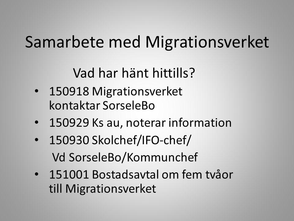 Samarbete med Migrationsverket Vad har hänt hittills.