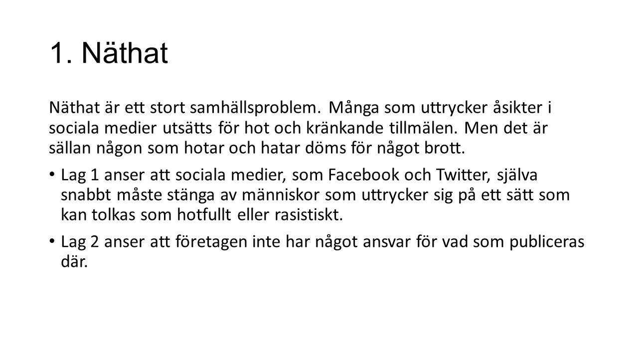 1. Näthat Näthat är ett stort samhällsproblem. Många som uttrycker åsikter i sociala medier utsätts för hot och kränkande tillmälen. Men det är sällan