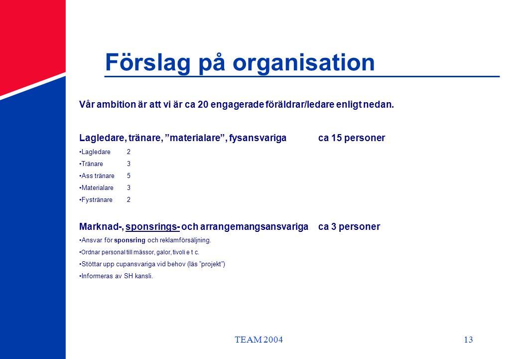 TEAM 200413 Förslag på organisation Vår ambition är att vi är ca 20 engagerade föräldrar/ledare enligt nedan.