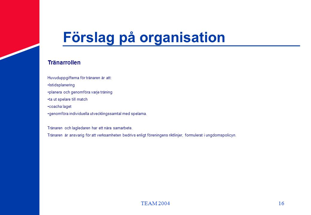 TEAM 200416 Förslag på organisation Tränarrollen Huvuduppgifterna för tränaren är att: Istidsplanering planera och genomföra varje träning ta ut spelare till match coacha laget genomföra individuella utvecklingssamtal med spelarna.