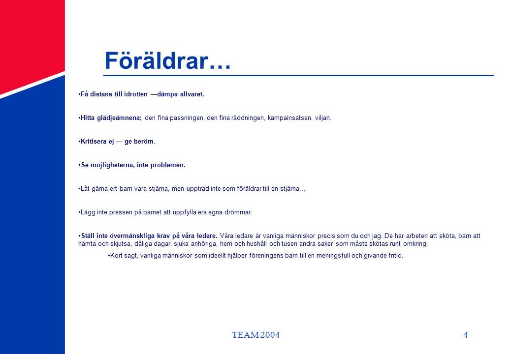 TEAM 20044 Föräldrar… Få distans till idrotten —dämpa allvaret.
