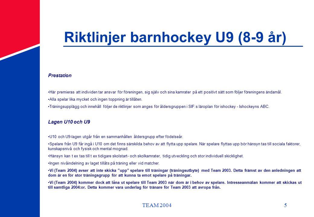 TEAM 20045 Riktlinjer barnhockey U9 (8-9 år) Prestation Här premieras att individen tar ansvar för föreningen, sig själv och sina kamrater på ett positivt sätt som följer föreningens ändamål.