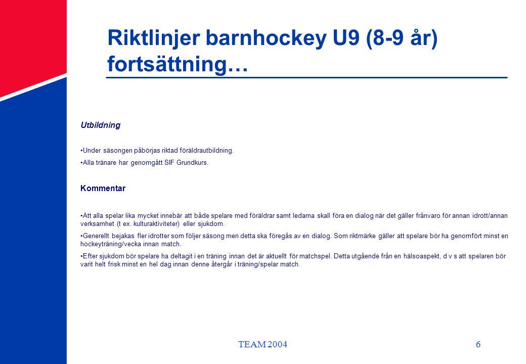 TEAM 20046 Riktlinjer barnhockey U9 (8-9 år) fortsättning… Utbildning Under säsongen påbörjas riktad föräldrautbildning.