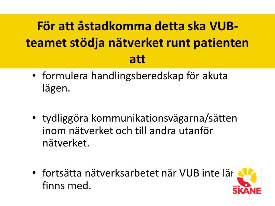 För att åstadkomma detta ska VUB- teamet stödja nätverket runt patienten att formulera handlingsberedskap för akuta lägen.