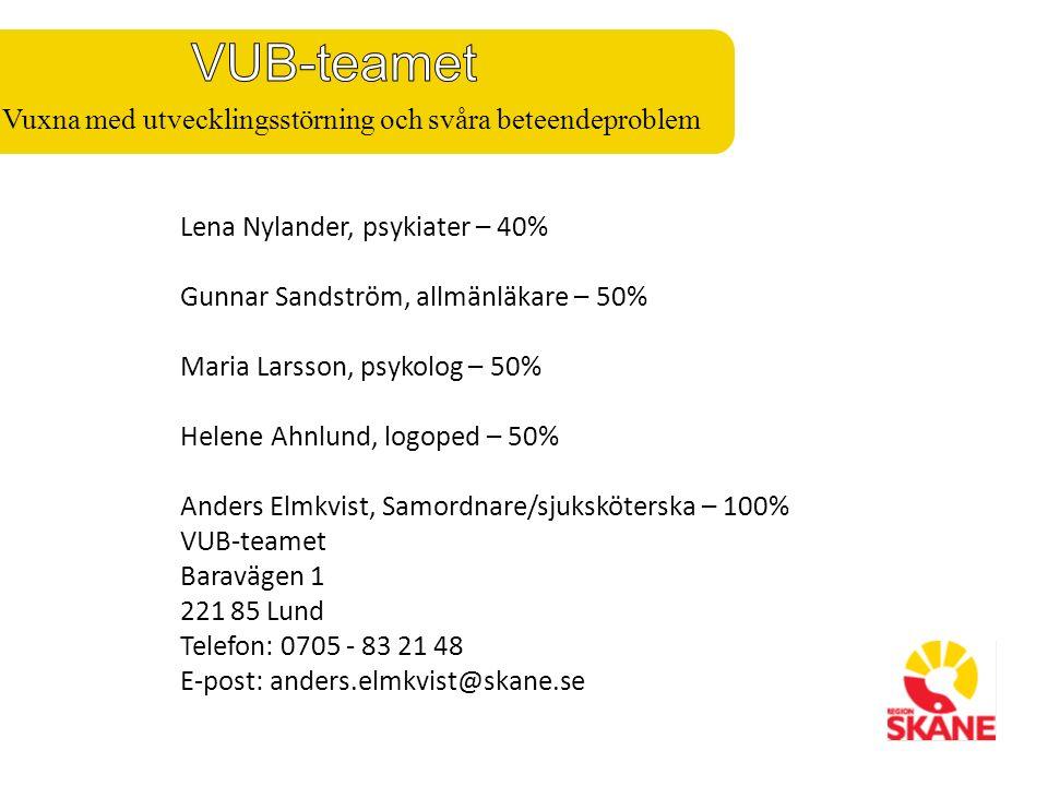 Lena Nylander, psykiater – 40% Gunnar Sandström, allmänläkare – 50% Maria Larsson, psykolog – 50% Helene Ahnlund, logoped – 50% Anders Elmkvist, Samordnare/sjuksköterska – 100% VUB-teamet Baravägen 1 221 85 Lund Telefon: 0705 - 83 21 48 E-post: anders.elmkvist@skane.se