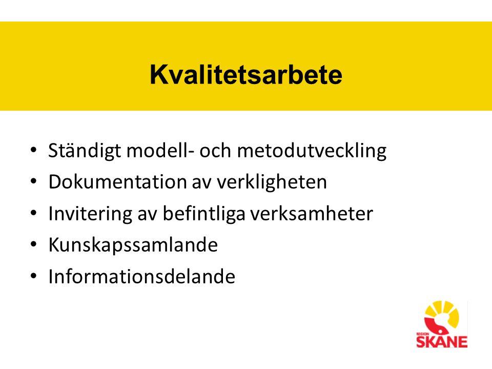 Kvalitetsarbete Ständigt modell- och metodutveckling Dokumentation av verkligheten Invitering av befintliga verksamheter Kunskapssamlande Informationsdelande
