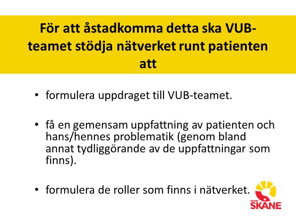 För att åstadkomma detta ska VUB- teamet stödja nätverket runt patienten att formulera uppdraget till VUB-teamet.