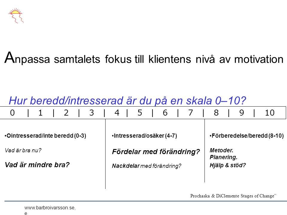 www.barbroivarsson.se, e A npassa samtalets fokus till klientens nivå av motivation Ointresserad/inte beredd (0-3) Vad är bra nu.