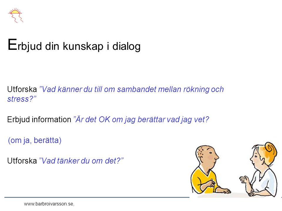 www.barbroivarsson.se, Utforska Vad känner du till om sambandet mellan rökning och stress Erbjud information Är det OK om jag berättar vad jag vet.