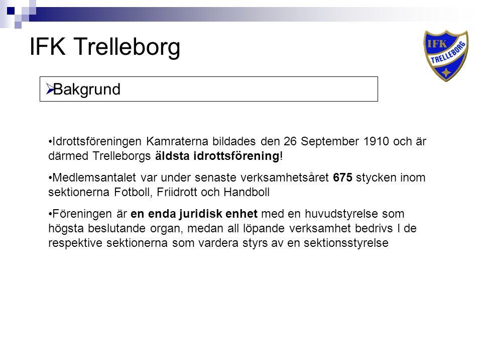 IFK Trelleborg  Bakgrund Idrottsföreningen Kamraterna bildades den 26 September 1910 och är därmed Trelleborgs äldsta idrottsförening.