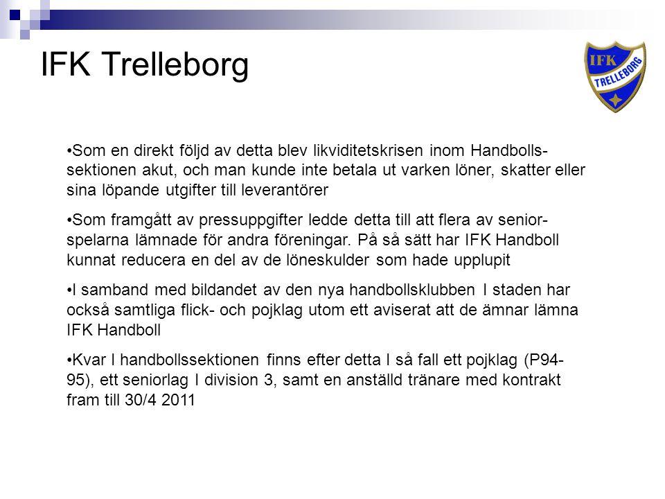IFK Trelleborg Som en direkt följd av detta blev likviditetskrisen inom Handbolls- sektionen akut, och man kunde inte betala ut varken löner, skatter eller sina löpande utgifter till leverantörer Som framgått av pressuppgifter ledde detta till att flera av senior- spelarna lämnade för andra föreningar.