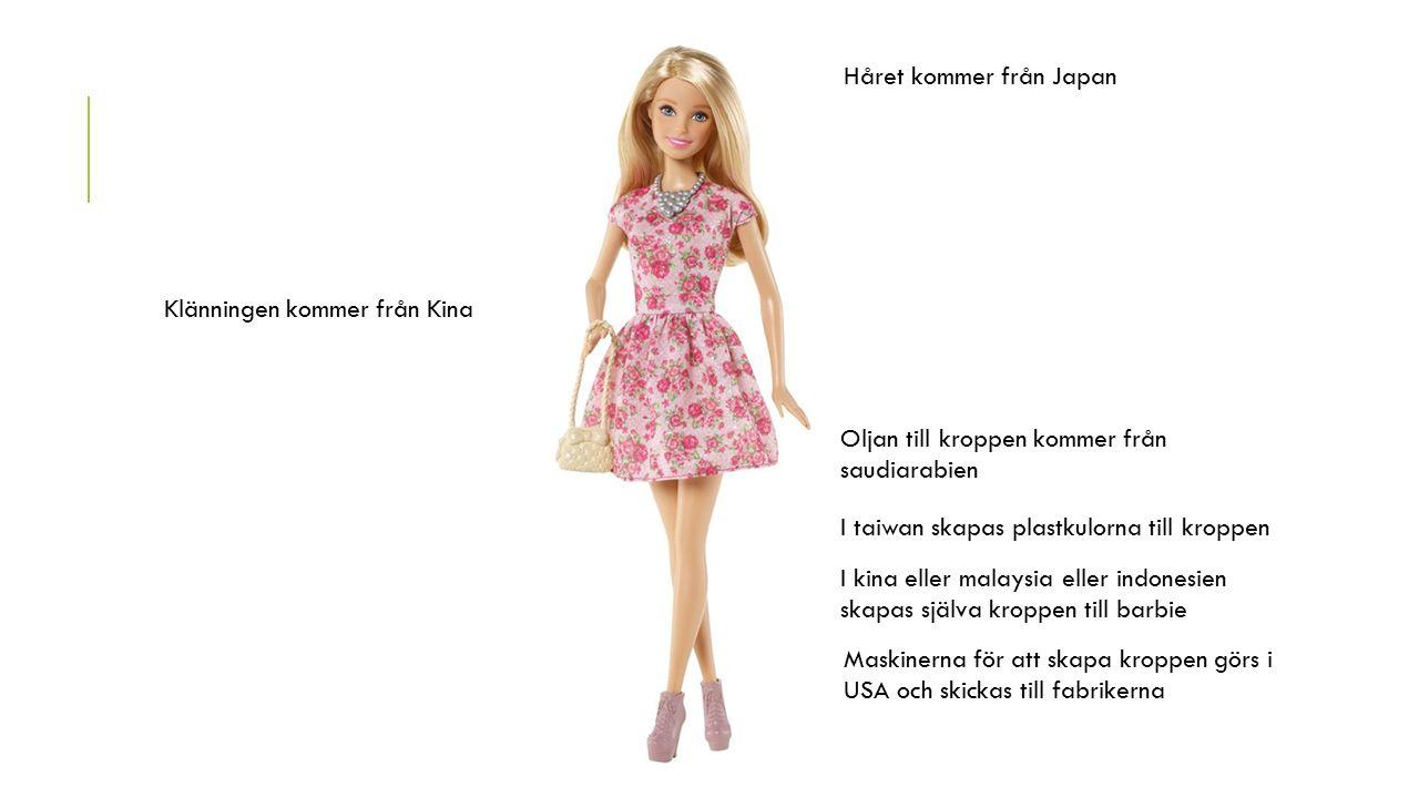 Oljan till kroppen kommer från saudiarabien I taiwan skapas plastkulorna till kroppen I kina eller malaysia eller indonesien skapas själva kroppen till barbie Maskinerna för att skapa kroppen görs i USA och skickas till fabrikerna Håret kommer från Japan Klänningen kommer från Kina