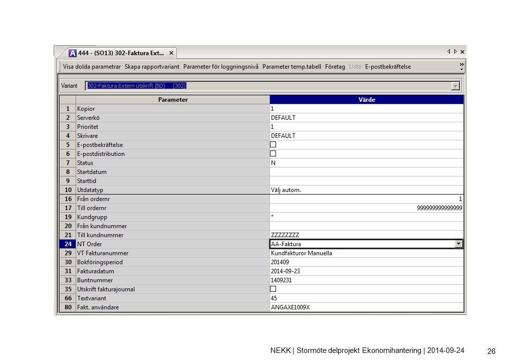 NEKK | Stormöte delprojekt Ekonomihantering | 2014-09-24 26