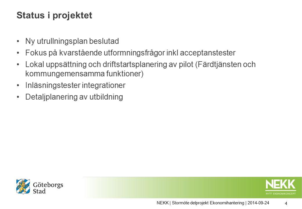 Status i projektet Ny utrullningsplan beslutad Fokus på kvarstående utformningsfrågor inkl acceptanstester Lokal uppsättning och driftstartsplanering av pilot (Färdtjänsten och kommungemensamma funktioner) Inläsningstester integrationer Detaljplanering av utbildning NEKK | Stormöte delprojekt Ekonomihantering | 2014-09-24 4