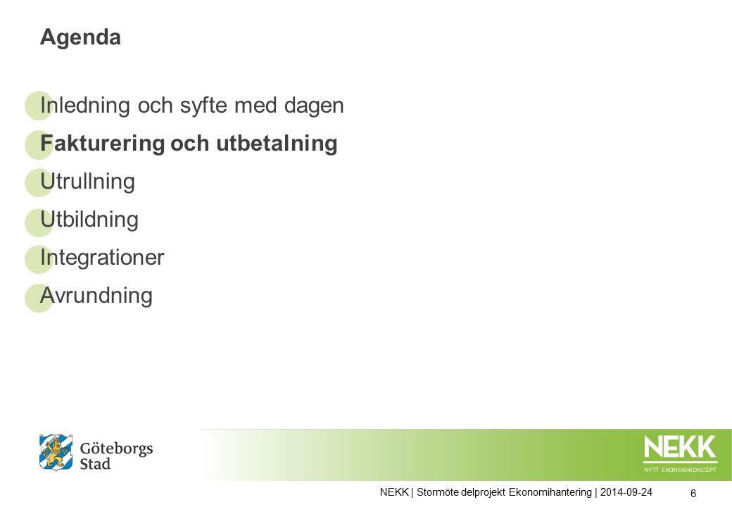 Agenda Inledning och syfte med dagen Fakturering och utbetalning Utrullning Utbildning Integrationer Avrundning NEKK | Stormöte delprojekt Ekonomihantering | 2014-09-24 6