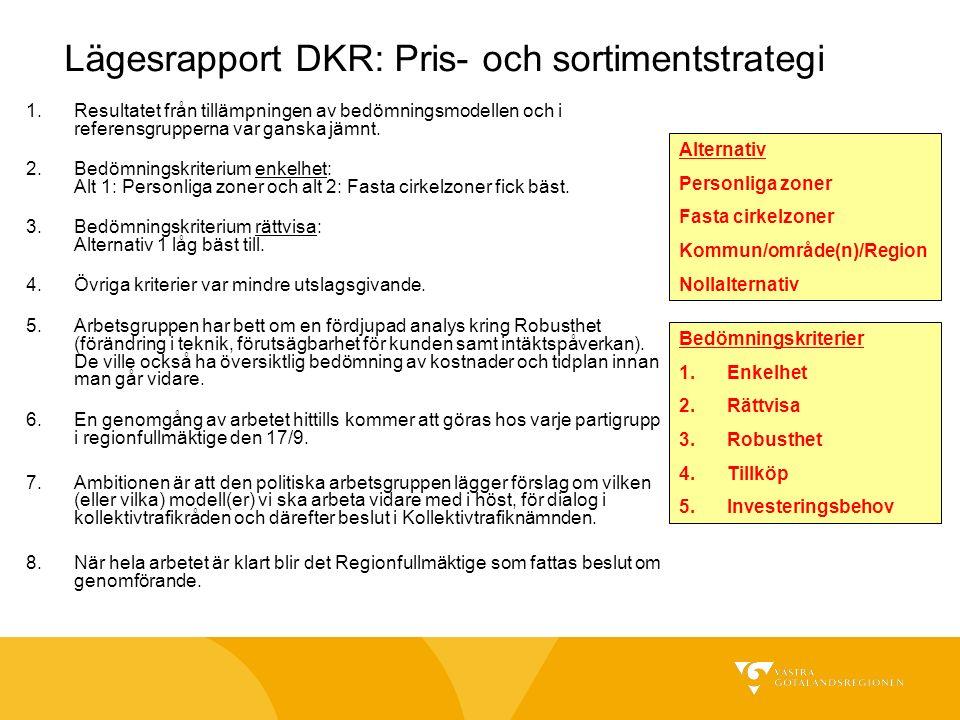 Lägesrapport DKR: Pris- och sortimentstrategi 1.Resultatet från tillämpningen av bedömningsmodellen och i referensgrupperna var ganska jämnt.