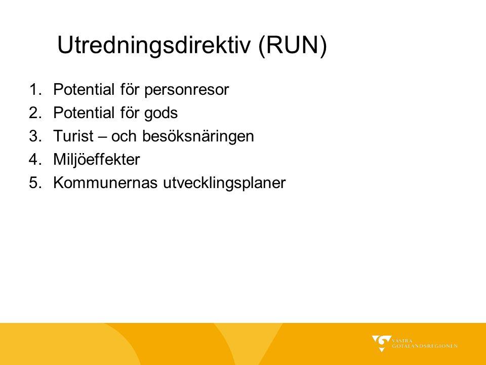 Utredningsdirektiv (RUN) 1.Potential för personresor 2.Potential för gods 3.Turist – och besöksnäringen 4.Miljöeffekter 5.Kommunernas utvecklingsplaner