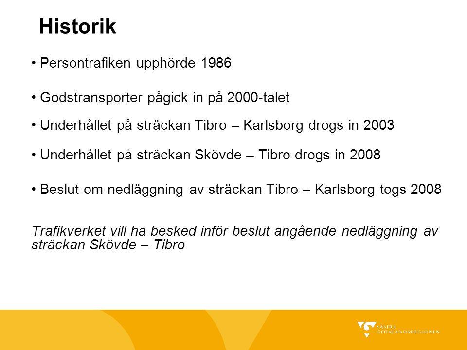 Historik Persontrafiken upphörde 1986 Godstransporter pågick in på 2000-talet Underhållet på sträckan Tibro – Karlsborg drogs in 2003 Underhållet på sträckan Skövde – Tibro drogs in 2008 Beslut om nedläggning av sträckan Tibro – Karlsborg togs 2008 Trafikverket vill ha besked inför beslut angående nedläggning av sträckan Skövde – Tibro