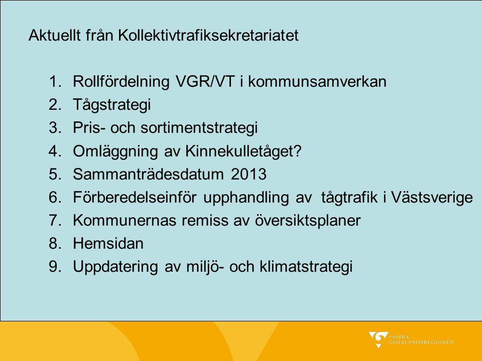 Aktuellt från Kollektivtrafiksekretariatet 1.Rollfördelning VGR/VT i kommunsamverkan 2.Tågstrategi 3.Pris- och sortimentstrategi 4.Omläggning av Kinnekulletåget.