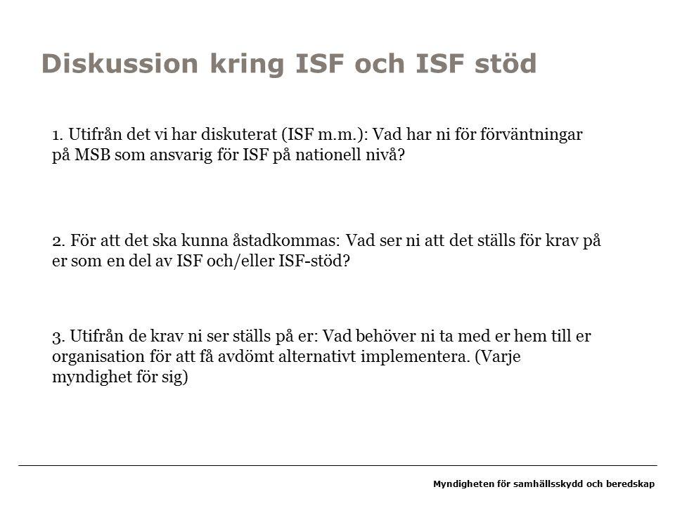 Myndigheten för samhällsskydd och beredskap Diskussion kring ISF och ISF stöd 1.