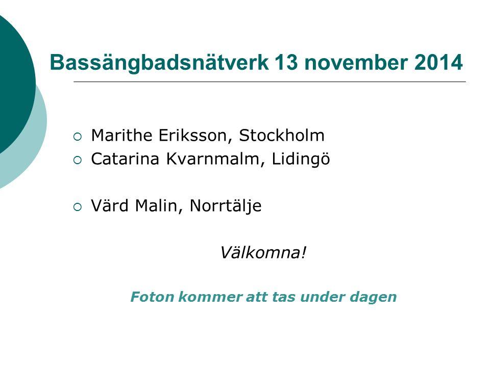 Bassängbadsnätverk 13 november 2014  Marithe Eriksson, Stockholm  Catarina Kvarnmalm, Lidingö  Värd Malin, Norrtälje Välkomna.