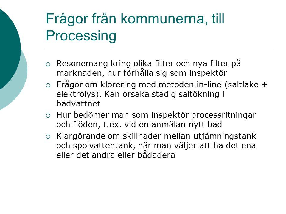 Frågor från kommunerna, till Processing  Resonemang kring olika filter och nya filter på marknaden, hur förhålla sig som inspektör  Frågor om klorering med metoden in-line (saltlake + elektrolys).