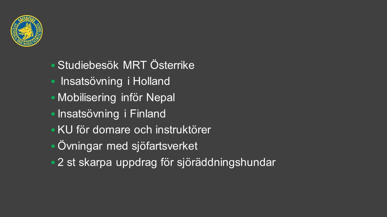 Studiebesök MRT Österrike Insatsövning i Holland Mobilisering inför Nepal Insatsövning i Finland KU för domare och instruktörer Övningar med sjöfartsverket 2 st skarpa uppdrag för sjöräddningshundar