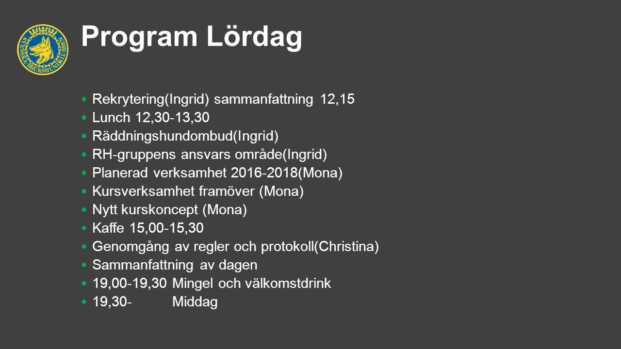 Program Lördag Rekrytering(Ingrid) sammanfattning 12,15 Lunch 12,30-13,30 Räddningshundombud(Ingrid) RH-gruppens ansvars område(Ingrid) Planerad verks