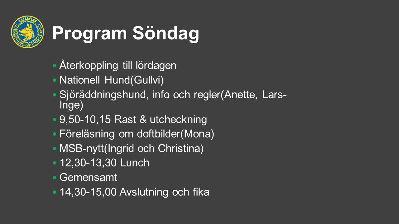 Program Söndag Återkoppling till lördagen Nationell Hund(Gullvi) Sjöräddningshund, info och regler(Anette, Lars- Inge) 9,50-10,15 Rast & utcheckning F