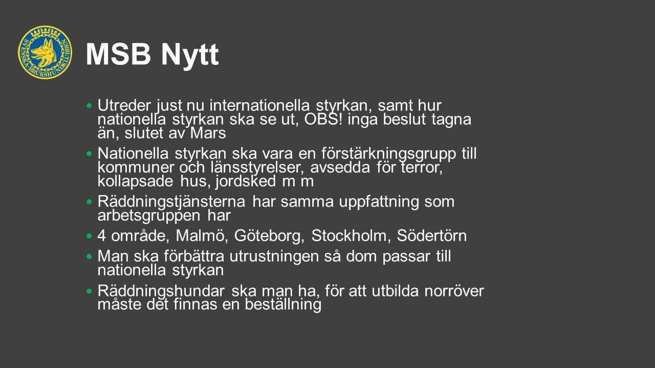 MSB Nytt Utreder just nu internationella styrkan, samt hur nationella styrkan ska se ut, OBS.