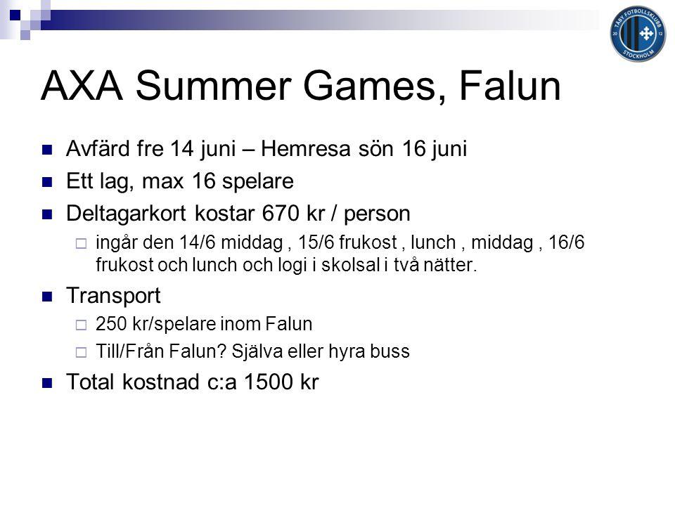 AXA Summer Games, Falun Avfärd fre 14 juni – Hemresa sön 16 juni Ett lag, max 16 spelare Deltagarkort kostar 670 kr / person  ingår den 14/6 middag, 15/6 frukost, lunch, middag, 16/6 frukost och lunch och logi i skolsal i två nätter.