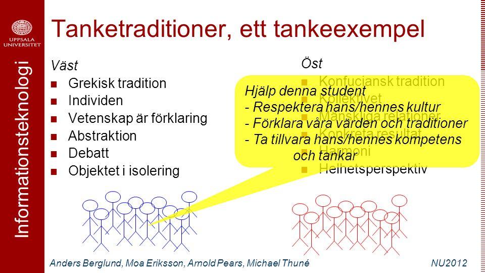 Informationsteknologi Anders Berglund, Moa Eriksson, Arnold Pears, Michael ThunéNU2012 Tanketraditioner, ett tankeexempel Väst Grekisk tradition Indiv